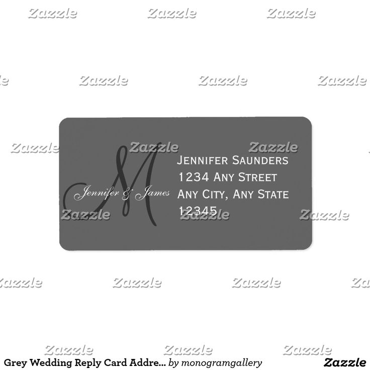 Grey Wedding Reply Card Address Label Monogram