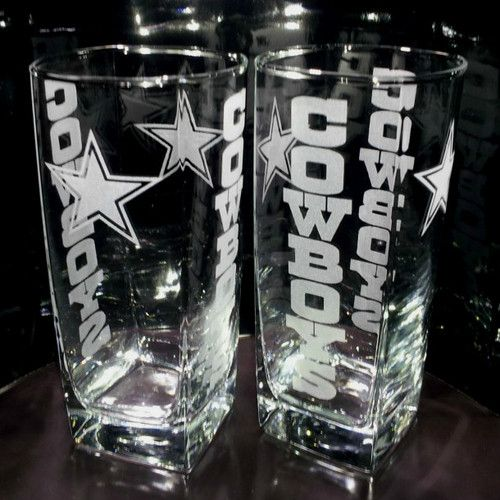 Etched Dallas Cowboys 4 Sided Glass Set | eBay