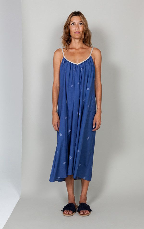 Mediterranean Blue Khadi Dress