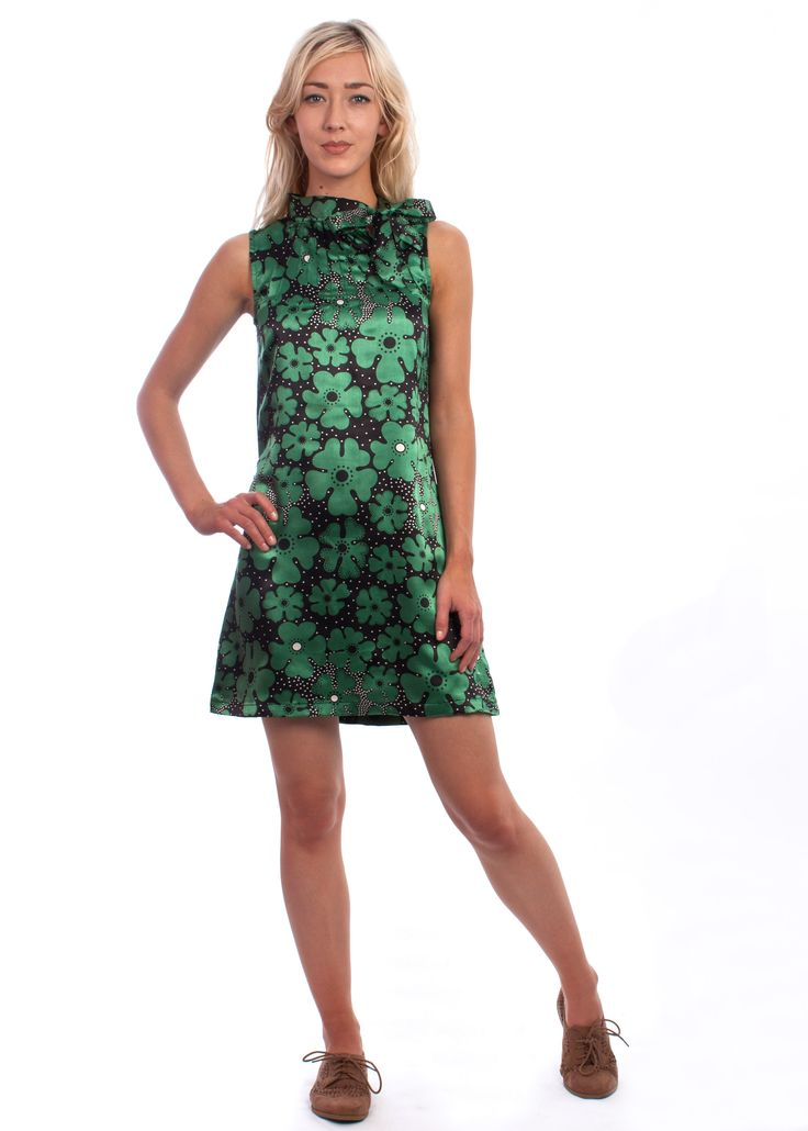 The abstract floral Twiggy dress from Circus at Carousel #60s #70s #abstract #pattern #disco #floral #vintage #style #shift #dress #necktie #green #pussybow