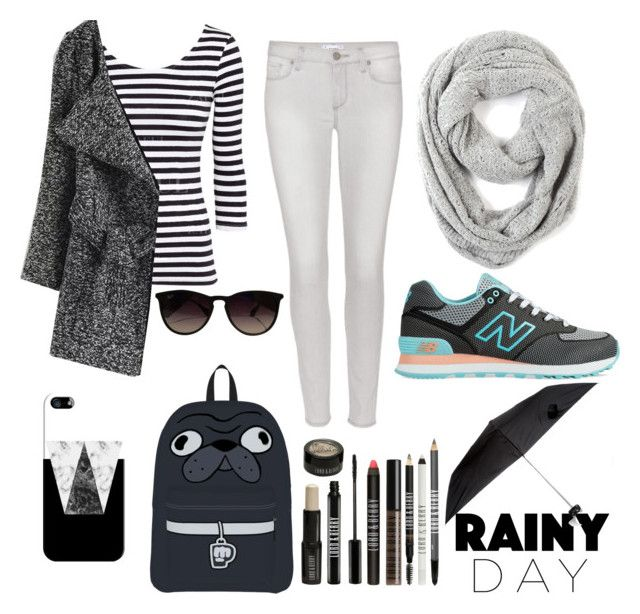 """Black And White for Rainy Day"" by aninditaarr on Polyvore featuring Paige Denim, Paula Bianco, New Balance, Ray-Ban, Casetify and Lord & Berry"