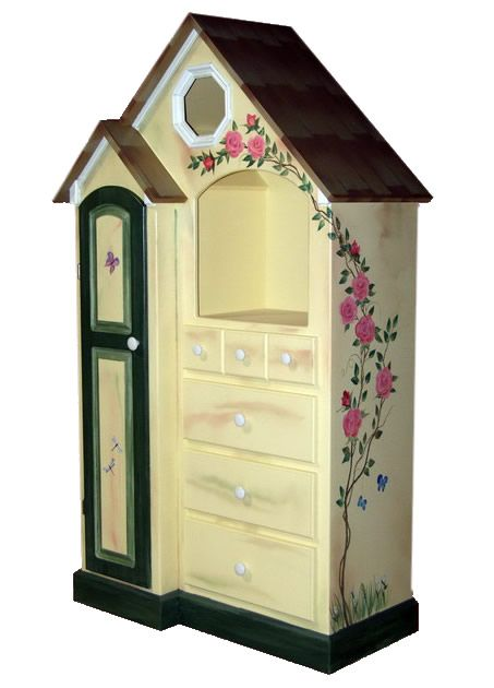 Custom Painted Cottage Dresser www.sweetretreatkids.com #sweetretreatkids #kidsdresser #kidsstorage #kidschest #kidsshelves #kidscottage