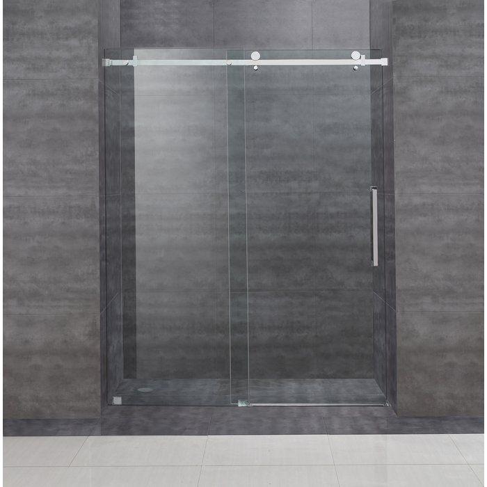 Moselle 56 W X 75 H Single Sliding Frameless Shower Door Frameless Shower Doors Sliding Shower Door Shower Doors