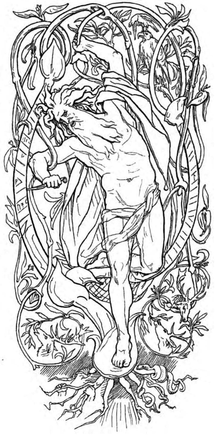 Eggfullydecorated Pagan Coloring Pages See More Odin S Self Sacrifice