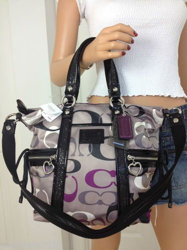 black and gray coach bag 7o03  COACH PURPLE BLACK GREY WHITE SHIMMER GLAM SIGNATURE TOTE BAG PURSE