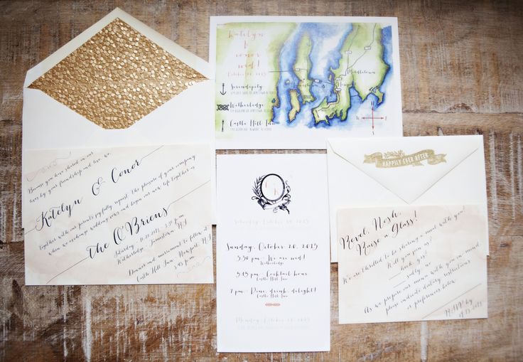 Wedding Invitations Suite - created by the bride: http://www.etsy.com/shop/LaPetiteCarte - See the wedding on SMP, here: http://www.StyleMePretty.com/2014/05/28/intimate-coastal-wedding-in-rhode-island/ Photography: AdelineAndGrace.com