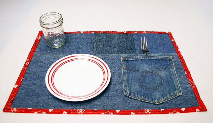 Denim Placemat Western Placemat Denim Snack Mats Kitchen Placemats Blue Jean Mat Up Cycled Jeans Blue Jean Placemats Farm Country Kitchen by KnitrxSews on Etsy