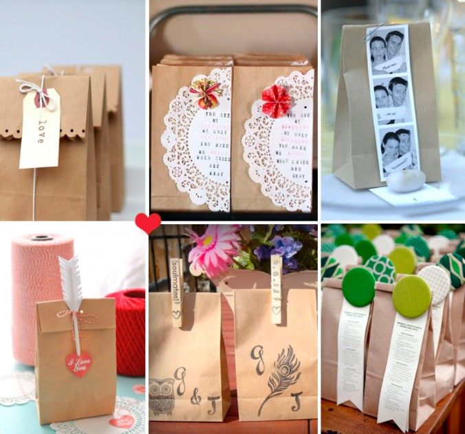 DIY ideas to dress up brown paper bags- set these out by the dessert buffet later in the wedding. If there is a lot leftover then people can bring stuff back to their hotels.