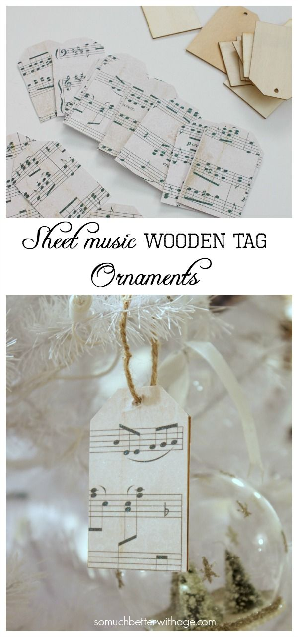 Sheet Music Wooden Tag Ornaments | So Much Better With Age