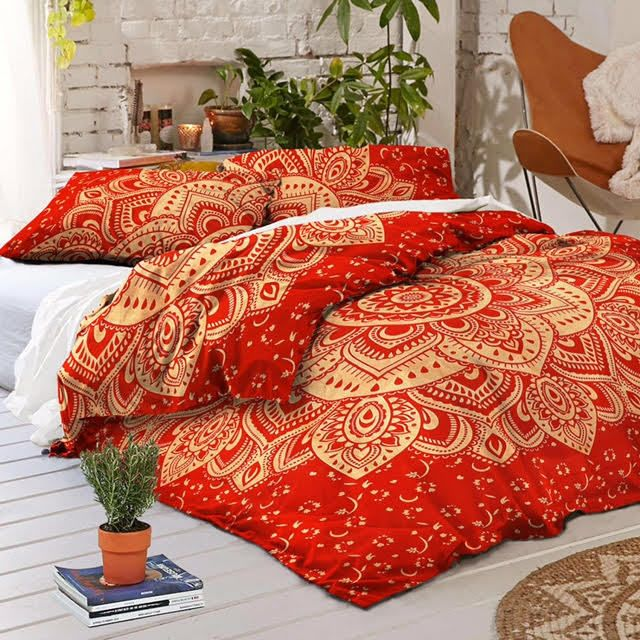 Indian Sanganeri Printed 100% Cotton Handmade Bed Sheet With Two Pillow Covers #Handmade #BeautifulQueenSizeDesign
