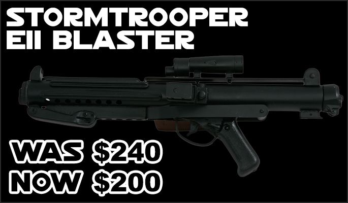 JediRobeAmerica.com Black Weekend Mega Sale - Stormtrooper E11 Blaster was 240 now 200