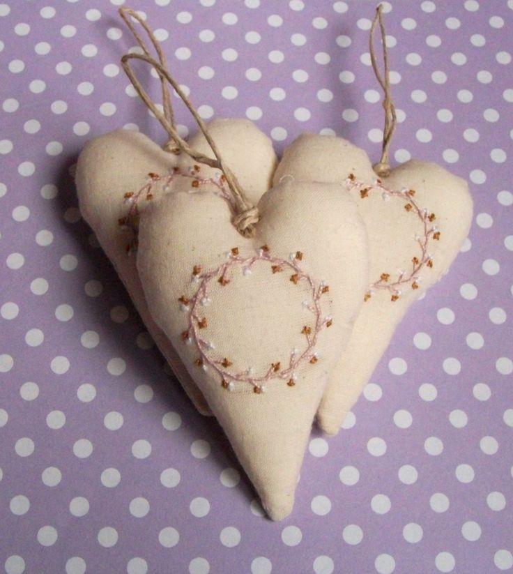 Embroidered heart decorations, ornaments