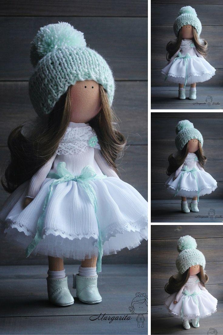 Soft doll handmade Angel White Turquoise Nursery decor Home doll Art doll Baby doll Tilda doll