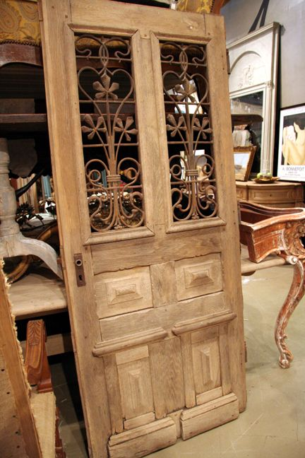 Antique French Napoleon Iii Style Oak Hall Door With Iron