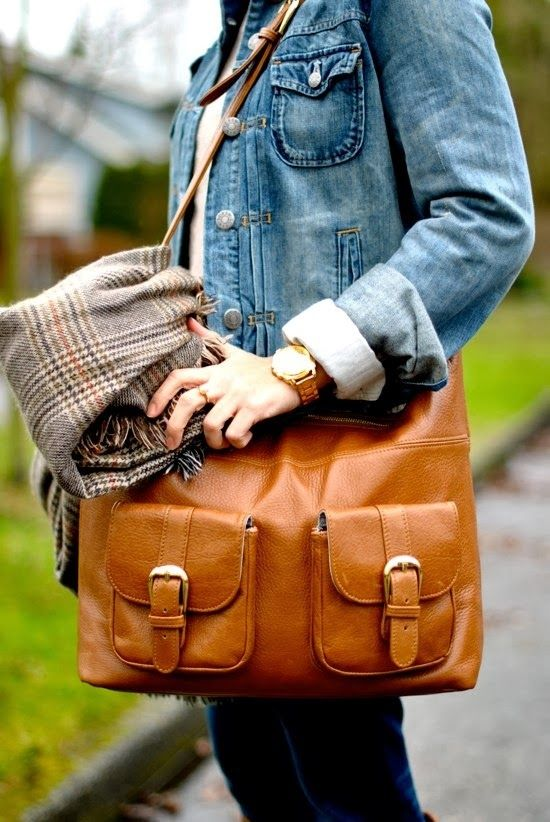 Denim Jacket With Leather Handbag and Scarf