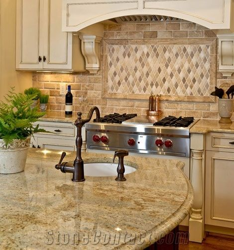Kitchen Tile Backsplash Ideas With Maple Cabinets: Golden Beach Granite