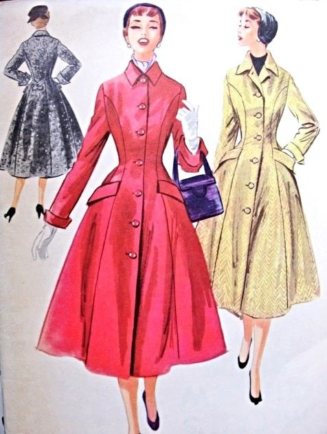 1950s Lovely Princess Coat Pattern McCalls 3329 Figure Flattering Nip in Waist Flared Coat Bust 34 Vintage Sewing Pattern