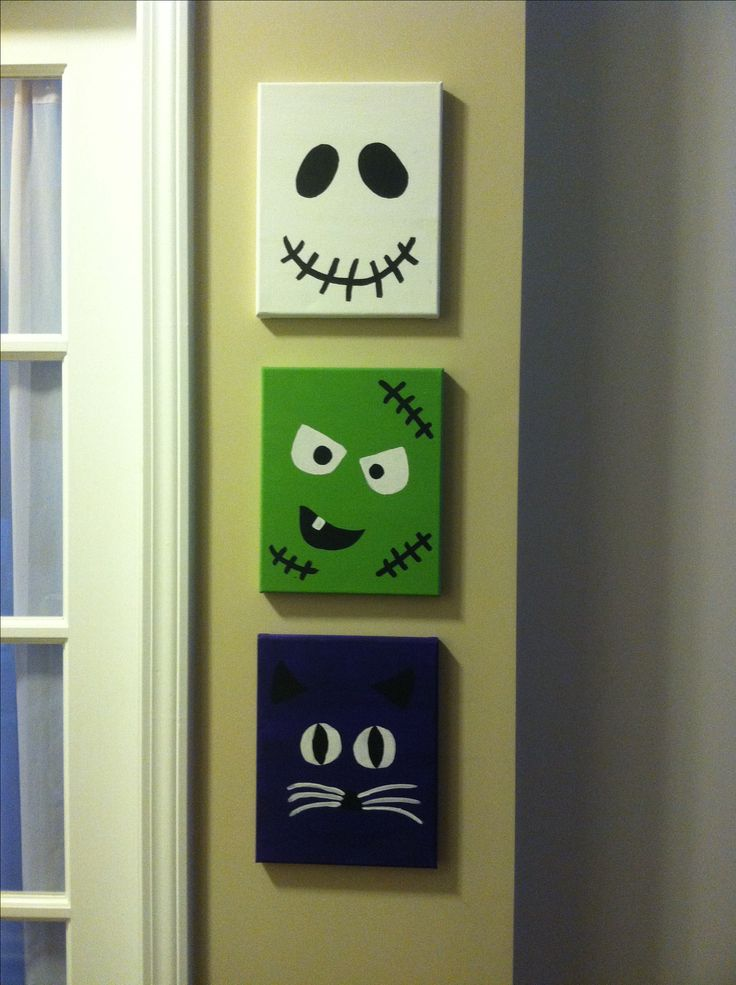 Halloween canvases. Silly spooky faces. Ghost frankenstein cat. Painted canvases. https://www.etsy.com/listing/202390279/set-of-three-halloween-faces-canvases