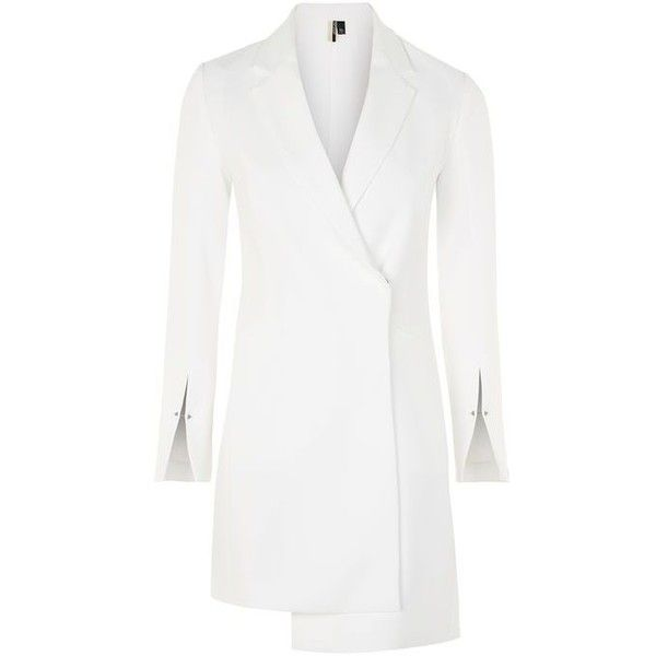 TopShop Asymmetric Blazer Dress (812.400 IDR) ❤ liked on Polyvore featuring dresses, topshop, white asymmetrical dresses, blazer dress, sleeve party dresses, holiday party dresses and white dress