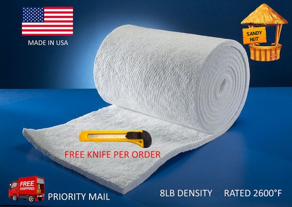 Ceramic Fiber Insulation Blanket 2600F High Heat (multiple cut sizes available)