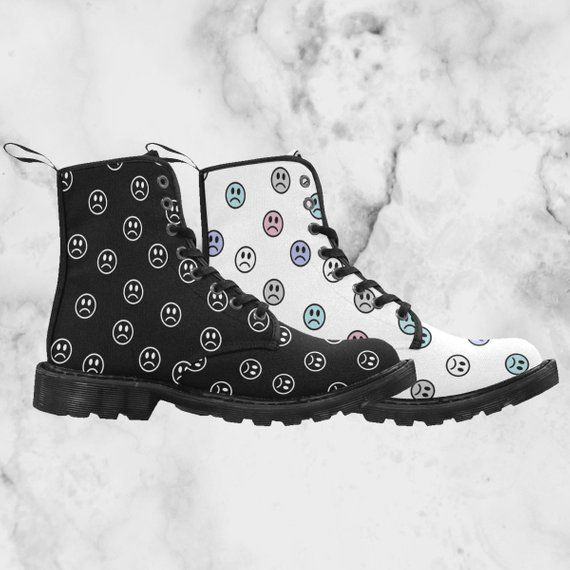 e29529e480617 sad faces - men s lace-up combat boots