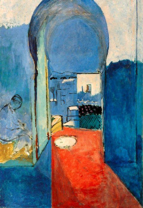 """peinture française : Matisse, 1912, Tanger, """"La porte de la Casbah"""", bleu, orientalisme, 1910s"""