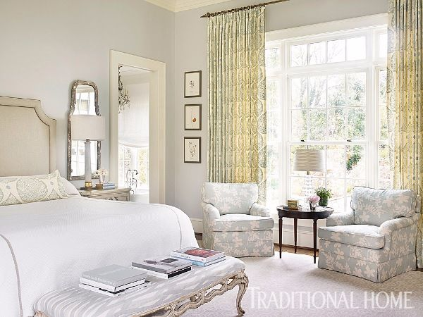 The Serene Bedroom Features Soft Colors And Antique Mirrors Flanking The  Bed. Window Treatment Fabric