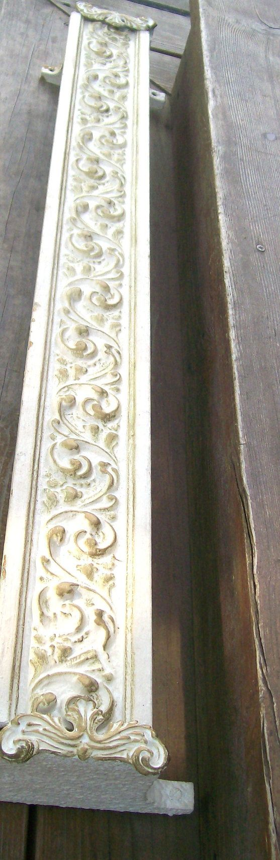 Reserved for valry fetrow wooden cornice primitive picture - French Shabby Chic White Gold Wood Valance Box