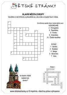 Křížovka - hlavní města Evropy