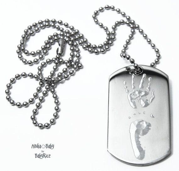 Collier de chaîne boule masculine avec acier inoxydable grand pendentif Dogtag personnalisé votre empreinte de main de Babys Childs Childrens empreintes digitales