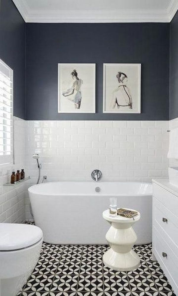 60 Beautiful Gray Bathroom Ideas With Stylish Color Combinations 2020 Page 9 Of 60 Tile Bathroom White Bathroom Black Bathroom