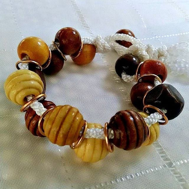 Wood, copper, and cord--light-weight and easy to wear bracelet  #handmade #bracelet #makrame #beaded #woodbeads #wehearthandmadebling