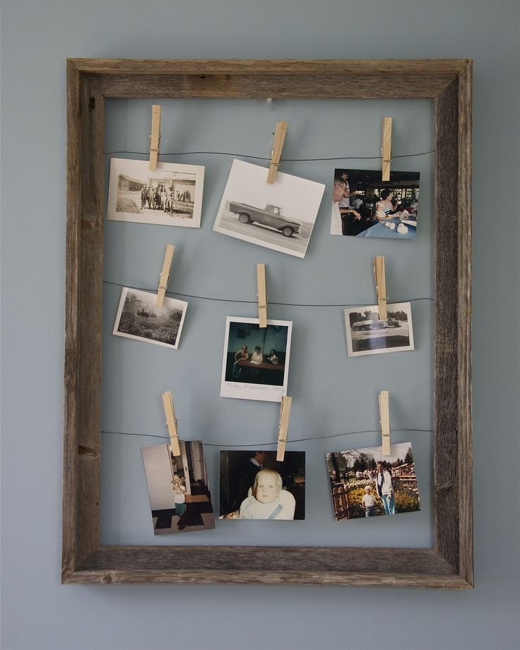 Reclaimed wood clothespin picture frame. Made by R and N Designs