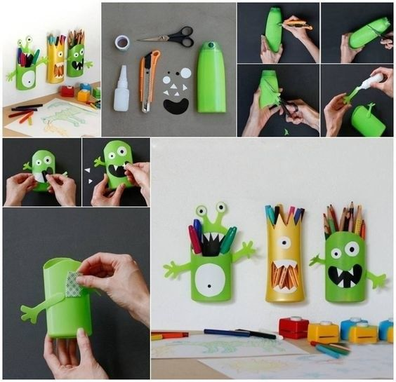 Transform an old shampoo bottle into an adorable pencil/pen holding monster. | 75 Insanely Clever DIYs Every Parent Will Wish They Knew About Sooner