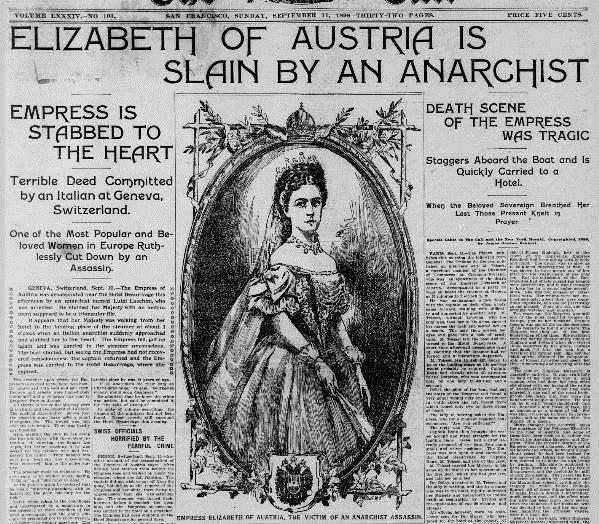 "Assassination, 10th September 1898...Empress Elisabeth of Austria (""Sisi"")"