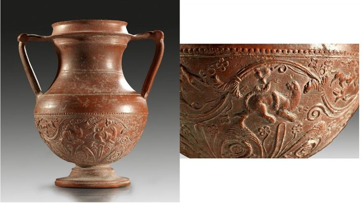 Terra sigillata red-gloss Arretine ware amphora with applied decor, late 1st century B.C.-early 1st century A.D. On the corpus different tendrils and flowers, between two scenes with fighting animals, snake and panther, dog and deer, 23.3 cm high. Private collection