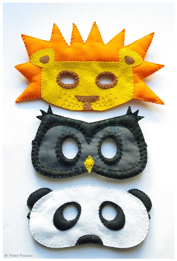 Animal masks made of felt