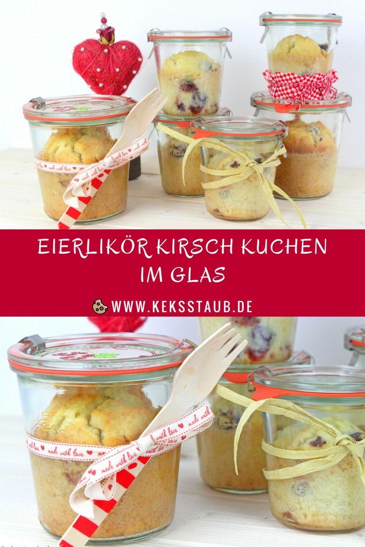 Rezept zum Backen für den Valentinstag - Eierlikör Kirsch Kuchen im Glas - mit und ohne Thermomix