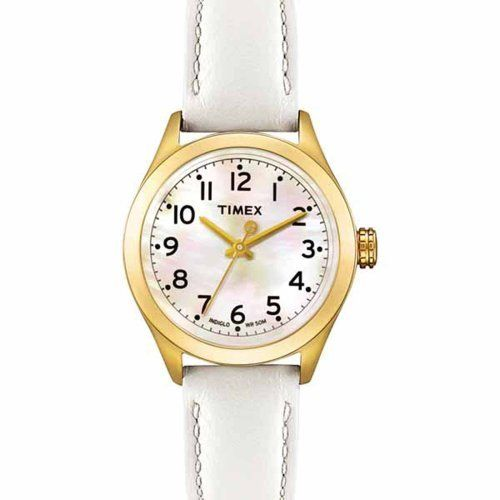 Timex Women's T2M446 T-Series White Leather Strap Watch Timex. $26.00. Stainless-steel case; White dial. Strong mineral crystal protects dial from scratches and scrapes. Quartz movement. Water-resistant to 165 feet (50 M)