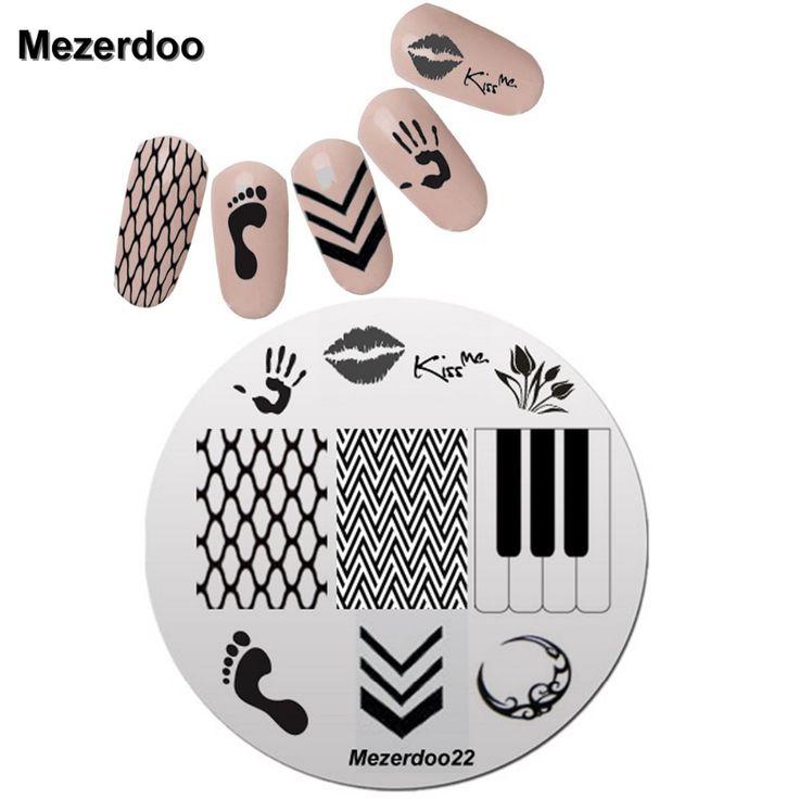 Kiss Design 5.5cm Round Nail Art Stamp Stamping Plates Template Set Cute Feet Arrow Fishing Nets Image Manicure Plate Mezerdoo22