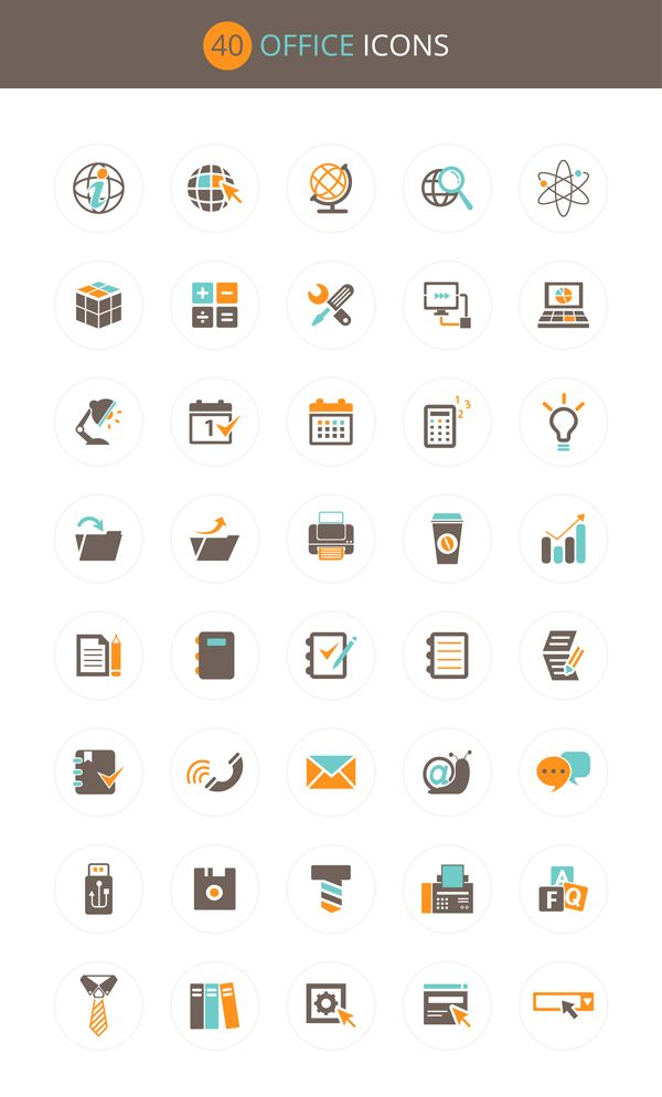 Free Download : Office Icon Set (40 icons – PSD , AI , EPS)