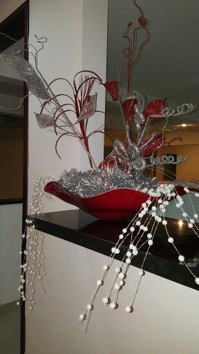 Arreglos Navidad Roja Plateado y Blanco