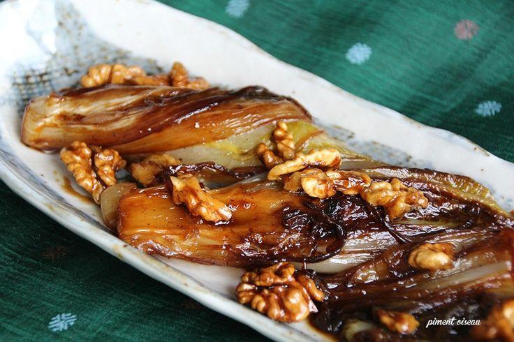 endives caramélisée aux noix