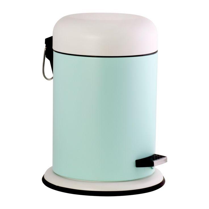 Papelero de metal con pedal e interior de plástico para el baño. Capacidad: 5 litros.