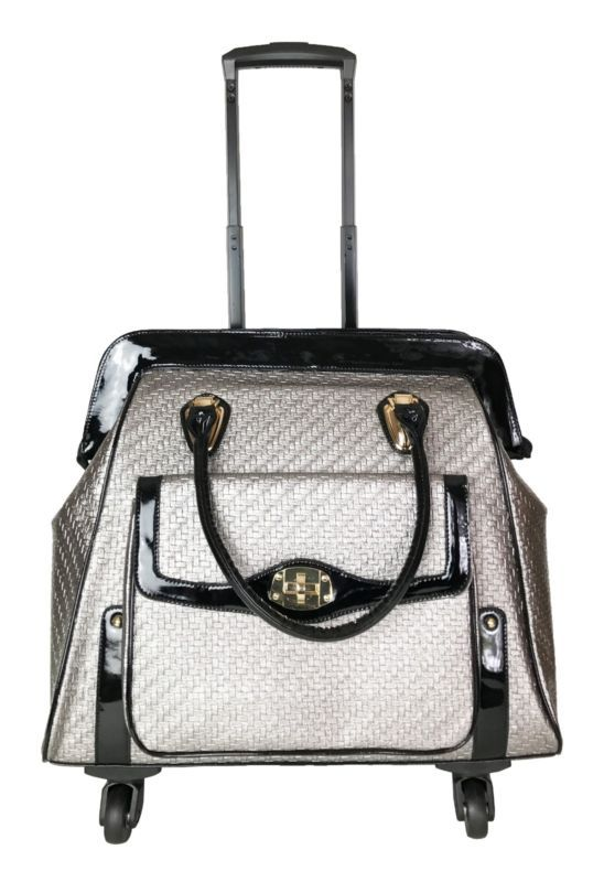 """20"""" L Computer/Laptop Carry Bag Duffel Rolling 4Wheel Spinner Luggage Silver"""