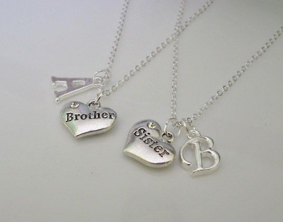 Set of 2 necklaces Sister and Brother charm by CharmsFromHanna