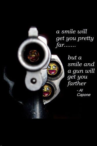 AL CAPONE QUOTE POSTER smiles GANGSTER guns will get you far FUNNY 24X36 Brand New. 24x36 inches. Will ship in a tube. Reproduction of aged original vintage art print. Great wall decor art print at a