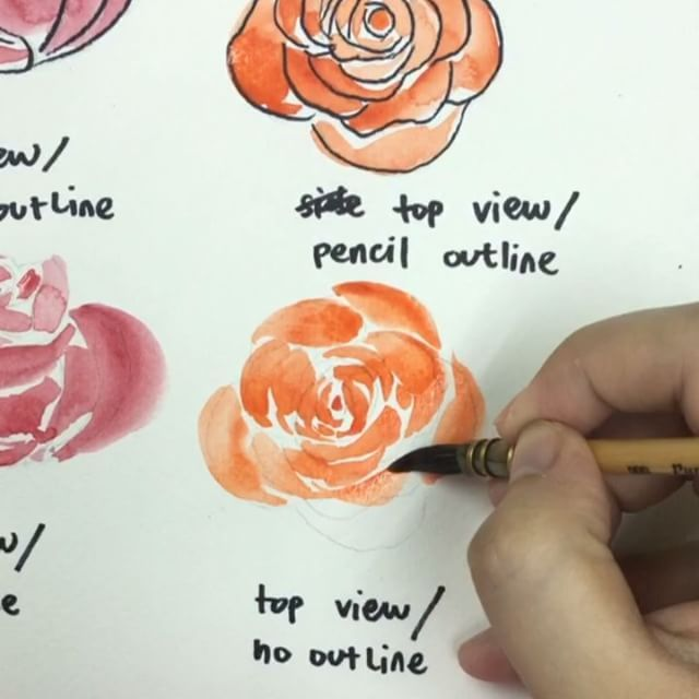 The loose watercolor rose mini tutorial is finally here! I took my time formulating an easy way to learn it: using outlines! 1. So first, print out or sketch out a rough doodle of a rose - from whichever angle you like. Pencil sketches are best so that it is not too visible in the end! :) 2. After that, try to fill in those petals with watercolor with one stroke each petal. You will notice that the outer the petals get, the wider the color surface is. So use more pressure to the brush when…