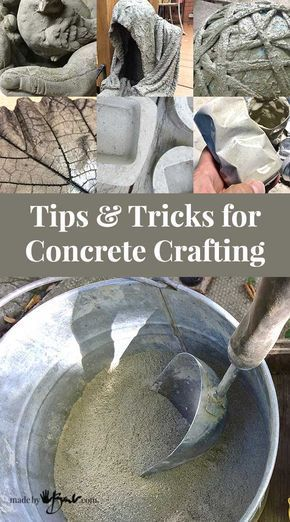 Check out how to craft and make with concrete, tips and tricks for concrete crafting and information about various concrete mixes, how to finish