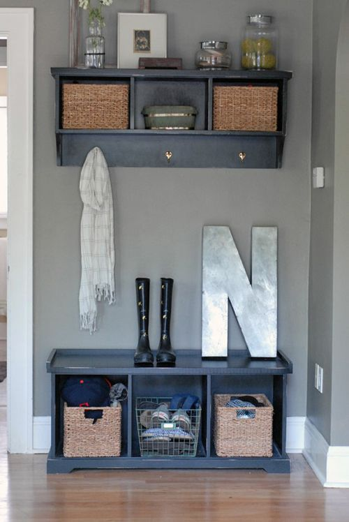 Great entryway idea...paint bench and wall cubby in coordinating color. Make one chubby open on bottom for heat register. Maybe add fancy grate?